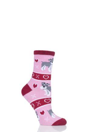 Ladies 1 Pair SockShop Wild Feet Schnauzer Christmas Jumper Gift Bag Socks