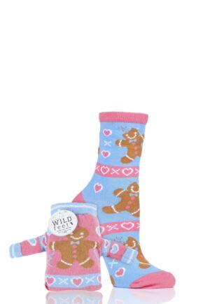 Ladies 1 Pair SockShop Wild Feet Gingerbread Christmas Jumper Gift Bag Socks