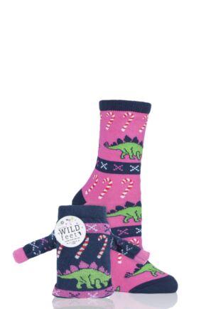 Ladies 1 Pair SockShop Wild Feet Stegosaurus Christmas Jumper Gift Bag Socks