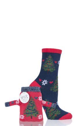 Ladies 1 Pair SockShop Wild Feet Tree Christmas Jumper Gift Bag Socks