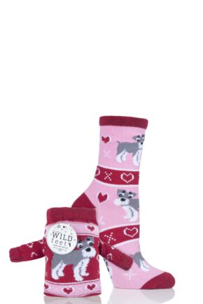 Ladies 1 Pair SockShop Wild Feet Schnauzer Christmas Jumper Gift Bag Socks