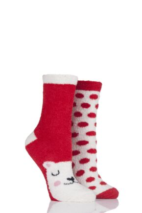 Ladies 2 Pair SockShop Snugsoles Polar Bear Fluffy Bed Socks