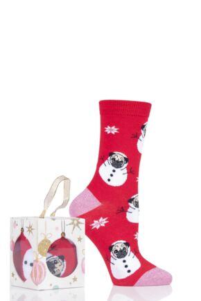 Ladies 1 Pair SOCKSHOP Wild Feet Gift Boxed Bauble Box Novelty Cotton Socks