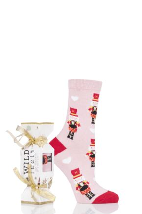 Ladies 1 Pair SOCKSHOP Wild Feet Gift Boxed Cracker Box Novelty Cotton Socks