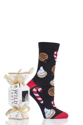 Ladies 1 Pair SOCKSHOP Wild Feet Gift Boxed Cracker Box Novelty Cotton Socks