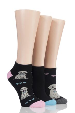Ladies 3 Pair SockShop Wild Feet Patterned Trainer Socks