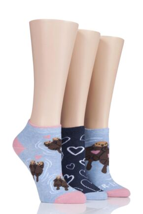 Ladies 3 Pair SockShop Wild Feet Otter-ly In Love Trainer Socks