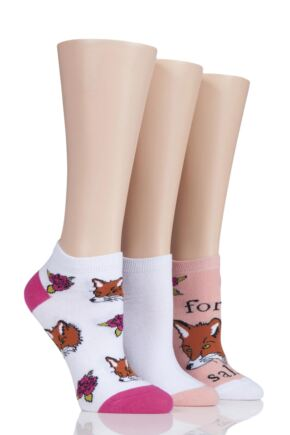 Ladies 3 Pair SockShop Wild Feet For Fox Sake Trainer Socks