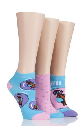 Ladies 3 Pair SockShop Wild Feet Chillin Sausage Dog Trainer Socks