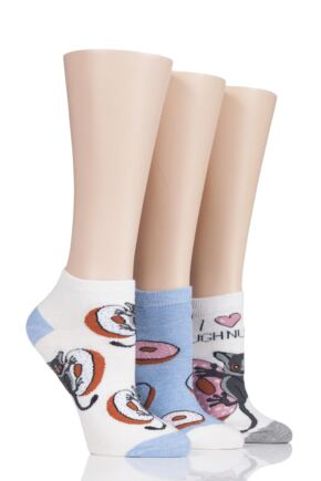 Ladies 3 Pair SockShop Wild Feet Doughnuts Trainer Socks