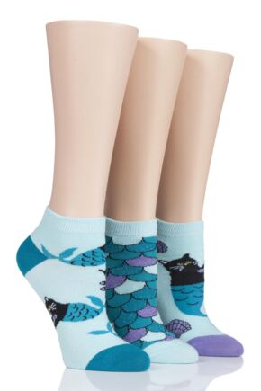 Ladies 3 Pair SockShop Wild Feet Purr-Maid Cat Trainer Socks