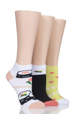 Ladies 3 Pair SockShop Wild Feet Sushi Trainer Socks