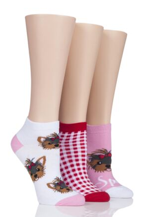 Ladies 3 Pair SockShop Wild Feet Spoilt Yorkie Dog Trainer Socks