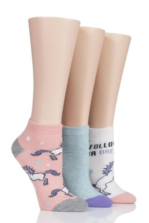 Ladies 3 Pair SockShop Wild Feet Unicorn Trainer Socks