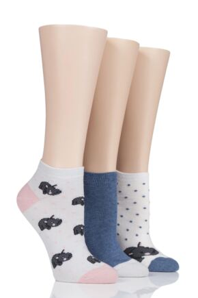 Ladies 3 Pair SockShop Wild Feet Hippo Trainer Socks