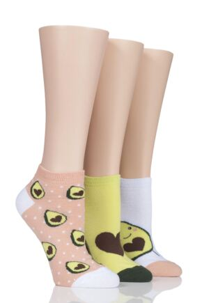 Ladies 3 Pair SockShop Wild Feet Avocado Trainer Socks