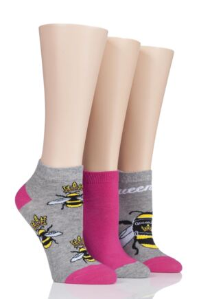 Ladies 3 Pair SockShop Wild Feet Queen Bee Trainer Socks