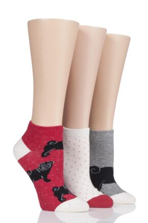 Ladies 3 Pair SockShop Wild Feet Black Pug Trainer Socks