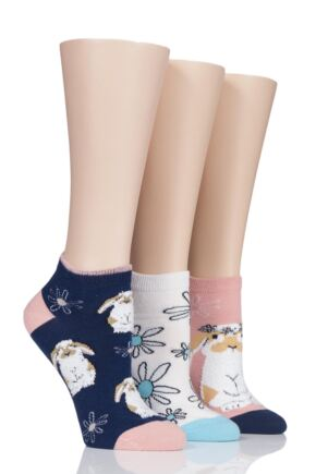 Ladies 3 Pair SockShop Wild Feet Fluffy Bunny Trainer Socks