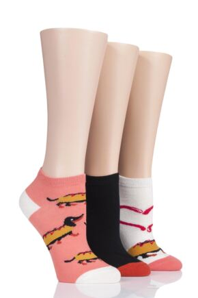 Ladies 3 Pair SOCKSHOP Wild Feet Sausage Hot Dog Cotton Trainer Socks
