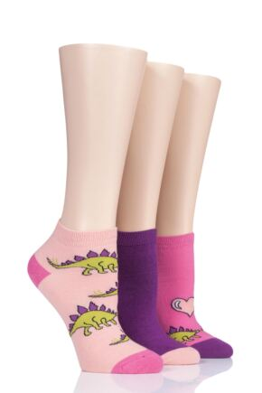Ladies 3 Pair SockShop Wild Feet Dinosaur Stegosaurus Love Cotton Trainer Socks