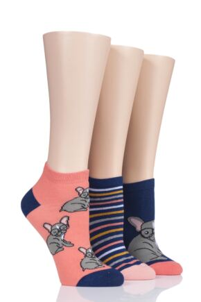 Ladies 3 Pair SockShop Wild Feet French Bulldog with Glasses Cotton Trainer Socks