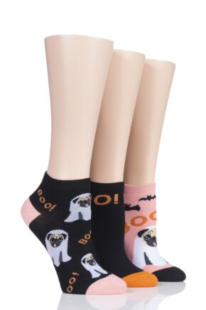 Ladies 3 Pair SockShop Wild Feet Ghost Pug Cotton Trainer Socks