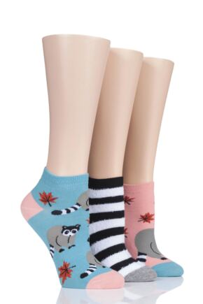 Ladies 3 Pair SockShop Wild Feet Raccoon Cotton Trainer Socks