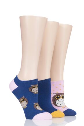 Ladies 3 Pair SOCKSHOP Wild Feet Owl Cotton Trainer Liner Socks