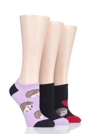 Ladies 3 Pair SOCKSHOP Wild Feet Hedgehog Cotton Trainer Liner Socks