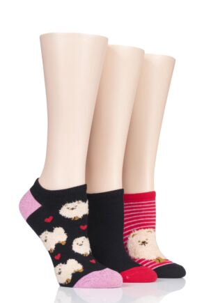 Ladies 3 Pair SOCKSHOP Wild Feet Pomeranian Cotton Trainer Liner Socks