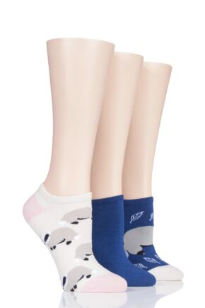 Ladies 3 Pair SOCKSHOP Wild Feet Badger Cotton Trainer Liner Socks