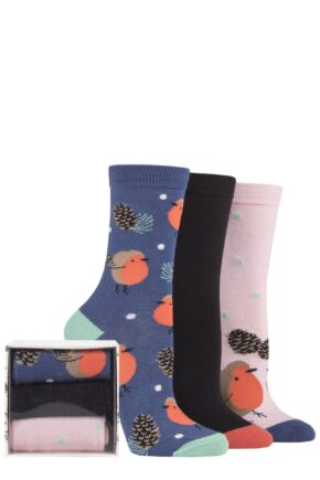 Ladies 3 Pair SOCKSHOP Wild Feet Animals Gift Box