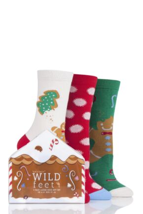 Ladies 3 Pair SOCKSHOP Wild Feet Gift Boxed Gingerbread Man Cotton Socks