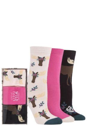 Ladies 3 Pair SOCKSHOP Wild Feet Gift Box Moose 4-8 Ladies