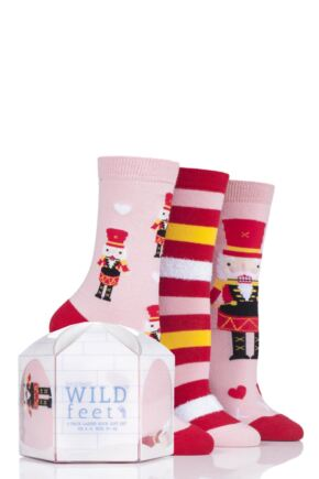 Ladies 3 Pair SockShop Wild Feet Gift Boxed Nutcracker Cotton Socks