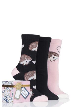 Ladies 3 Pair SOCKSHOP Wild Feet Gift Boxed Novelty Cotton Socks Hedgehog 4-8 Ladies