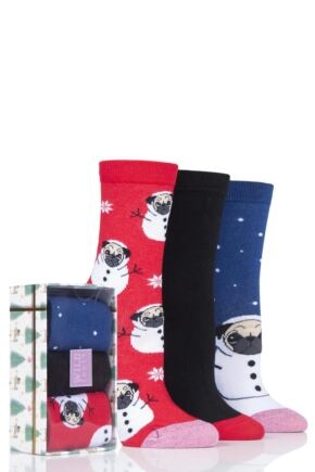 Ladies 3 Pair SOCKSHOP Wild Feet Christmas Box Gift Boxed Novelty Cotton Socks