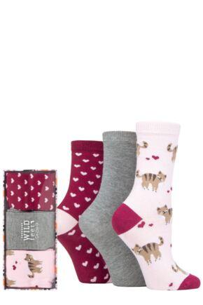 Ladies 3 Pair SOCKSHOP Wild Feet Gift Box