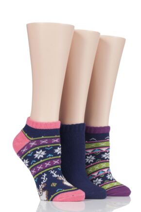 Ladies 3 Pair SockShop Wild Feet Chunky Knit Trainer Socks