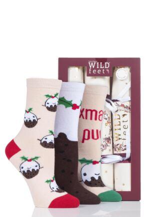 Ladies 3 Pair SockShop Wild Feet Christmas Cracker Socks