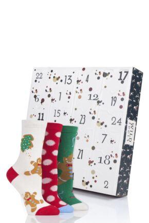 Ladies 24 Pair SockShop Wild Feet Christmas Advent Calendar Socks