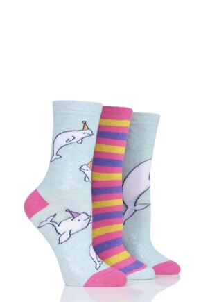 Ladies 3 Pair SockShop Wild Feet Beluga Party Cotton Socks