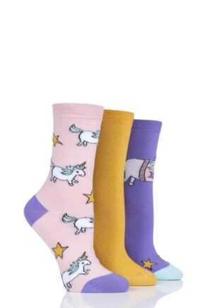 Ladies 3 Pair SockShop Wild Feet Unicorn Jumper Cotton Socks