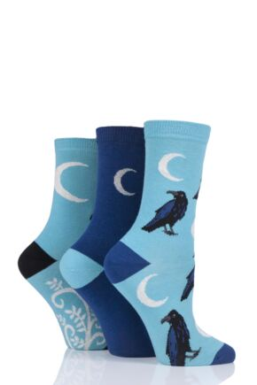 Ladies 3 Pair SockShop Wild Feet Raven Cotton Socks