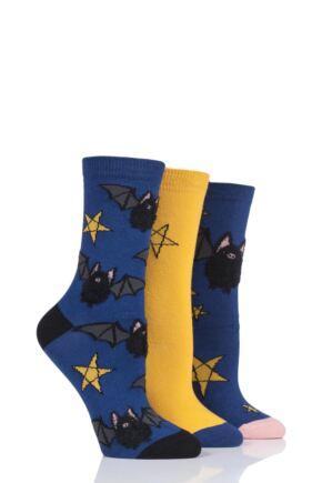 Ladies 3 Pair SockShop Wild Feet Bats Cotton Socks