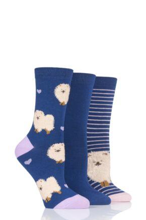 Ladies 3 Pair SockShop Wild Feet Pomeranian Novelty Cotton Socks