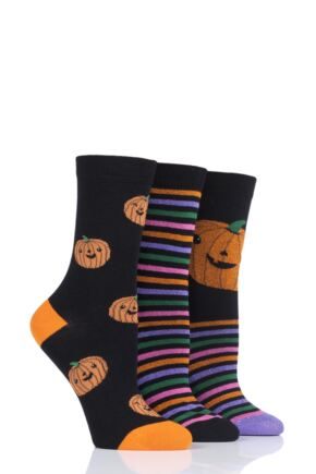 Ladies 3 Pair SockShop Wild Feet Pumpkin Cotton Socks