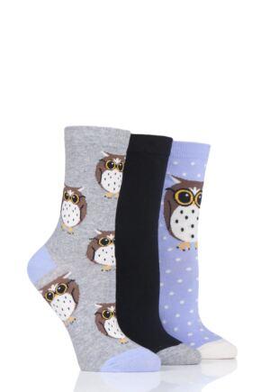 Ladies 3 Pair SockShop Wild Feet Owl Novelty Cotton Socks