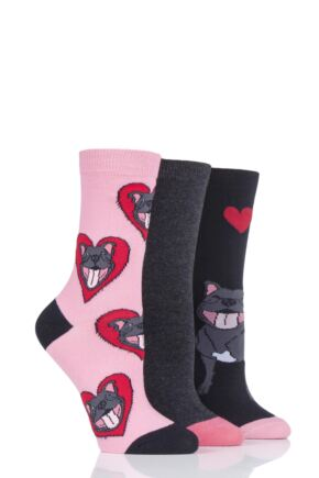 Ladies 3 Pair SockShop Wild Feet Smiling Staffie Novelty Cotton Socks